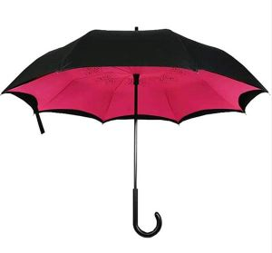 Custom Great Material Bulk Sale New Design Fasion Windproof Double Layer C Handle Inverted Reverse Umbrellas for Car Use
