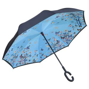 C-Shaped Handle Windproof UV Protection Upside Down Inside Full Printed Umbrella